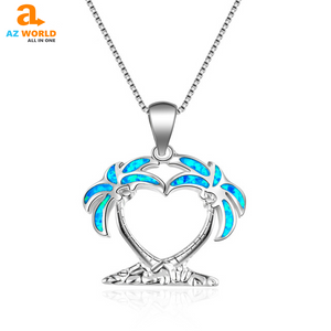 925 Sterling Silver Hawaii Coconut Tree Necklace - M2