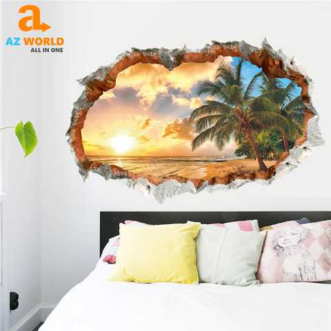 Image of Beach View 3D Wall Sticker - TR
