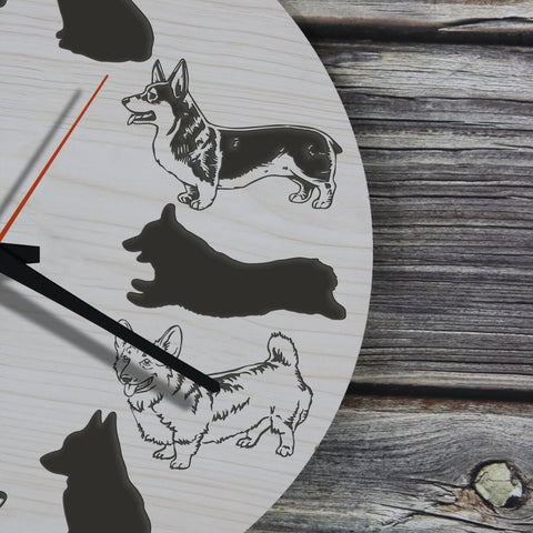 Corgi Dog Wooden Wall Clock