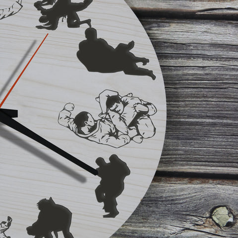 Jiujitsu Wooden Wall Clock