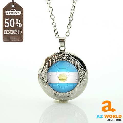 Image of Argentina Flag Football Round Necklace