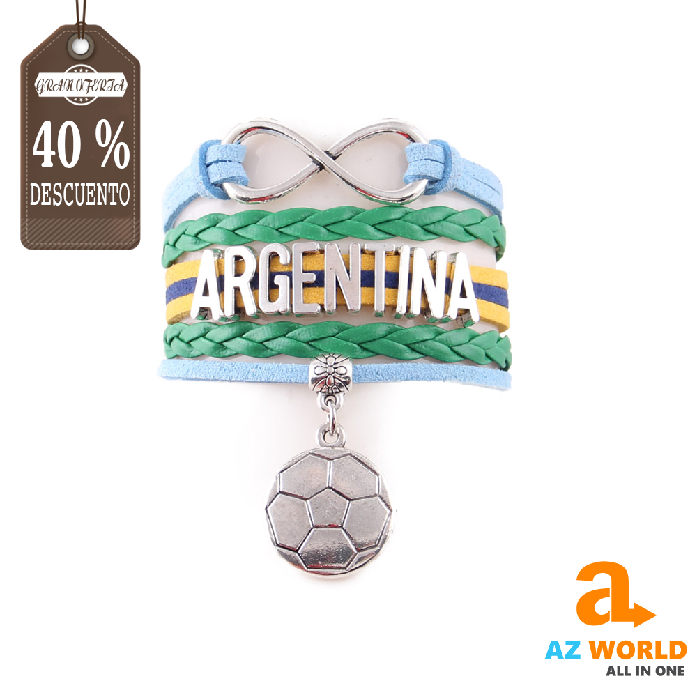 Argentina Infinity Football Charm Leather Bracelet