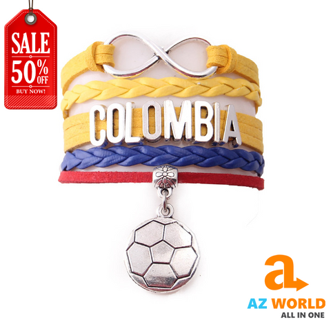 Colombia Infinity Football Charm Leather Bracelet