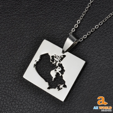 Canada Map Square Silver Plated Necklace
