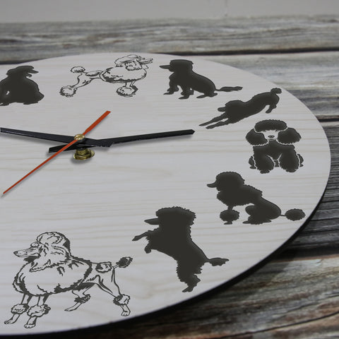 Poodle Dog Wooden Wall Clocks