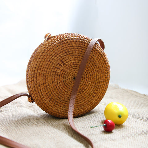 Image of AZ Exclusive Handmade Round Seagrass Straw Cross Body Bag - LTL008
