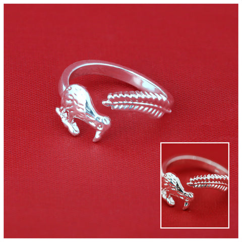 New Zealand Kiwi And Silver Fern Adjustable Rings