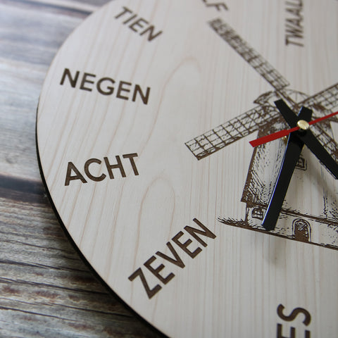 The Netherlands Windmill Wooden Wall Clock