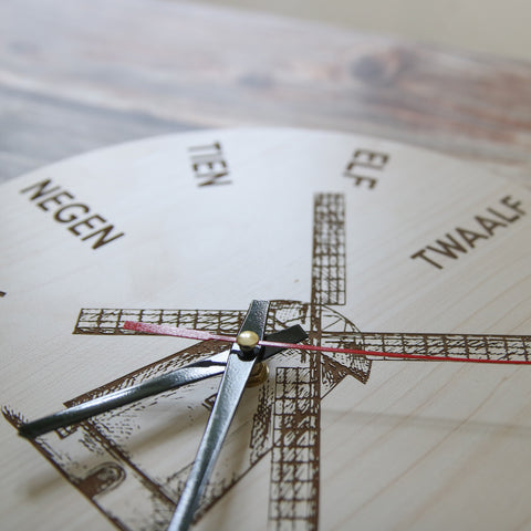 Image of The Netherlands Windmill Wooden Wall Clock