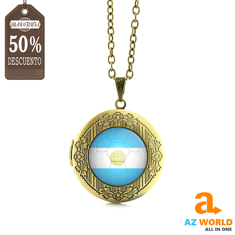 Argentina Flag Football Round Necklace