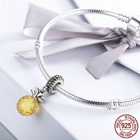Image of Hawaii Pineapple Charm Bracelet 925 Sterling Silver - TR