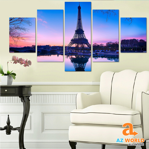 Eiffel Tower 5 Panels Canvas Wall Art - TR