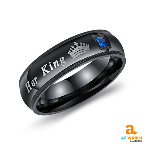 Image of her king his queen couple ring