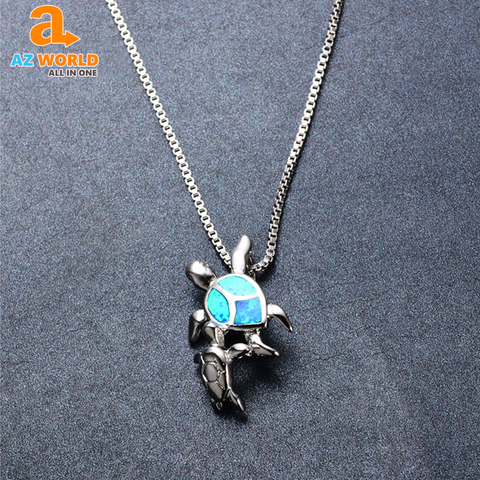 Image of 925 Sterling Silver Double Turtles Opal Necklace - M2