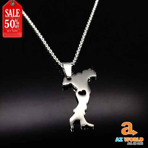Italy Map Stainless Steel Necklace - TR