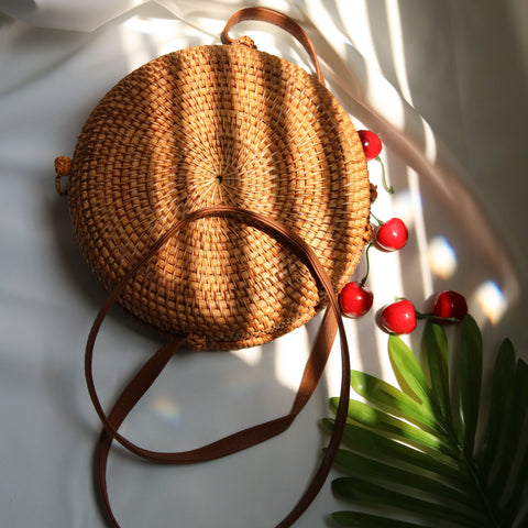 AZ Exclusive Handmade Round Seagrass Straw Cross Body Bag - LTL008