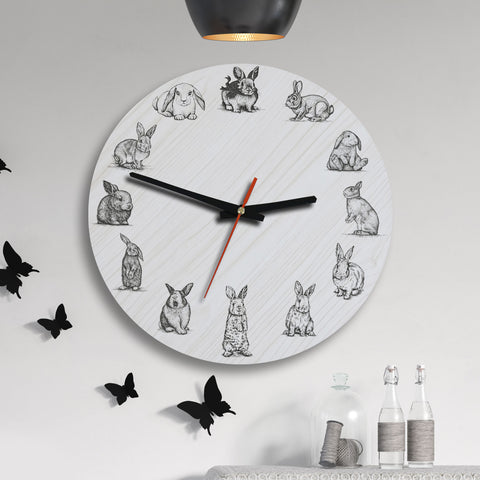 Bunny Rabbit Wooden Wall Clocks