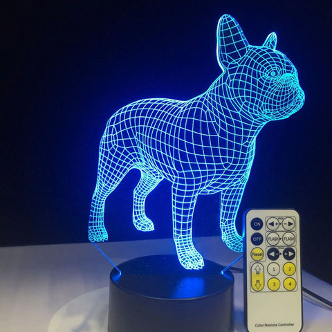 Bulldog 3D Table Lamp LED Colorful Dog Nightlight