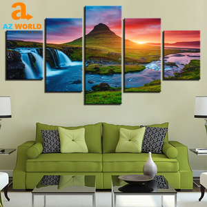 Iceland Waterfall 5 Panels Canvas Wall Art - TR