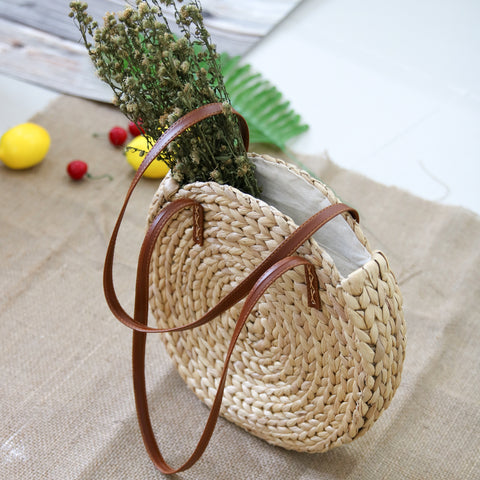 AZ Exclusive Handmade Water Hyacinth Straw Shoulder Bag - LTL004