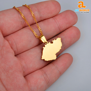 Czech Republic Map Gold Plated Necklaces - TH