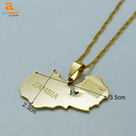 Image of Zambia Map Necklace
