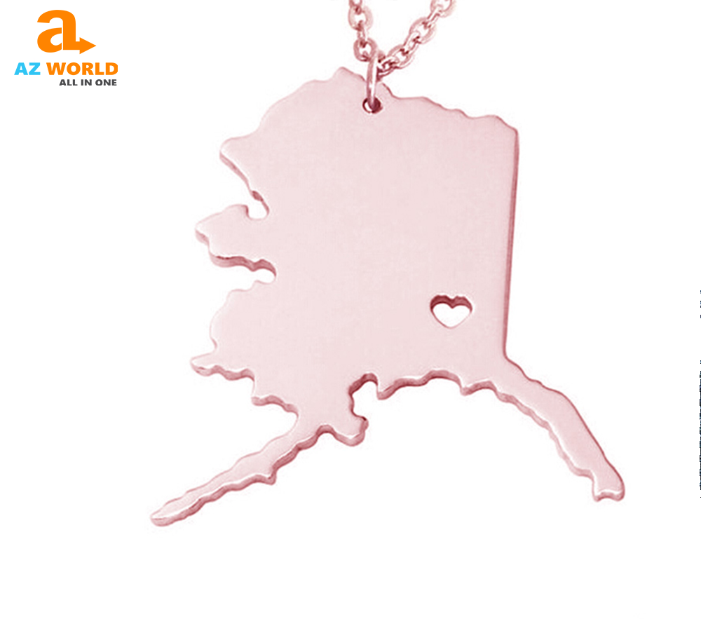 Alaska State Map With Heart Necklace - TH
