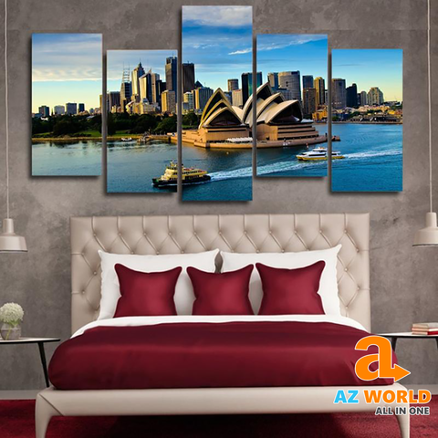 Sydney Opera House 5 Panels Canvas Wall Art - TR