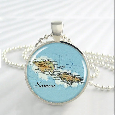 Samoa Islands Map Necklace - Y7