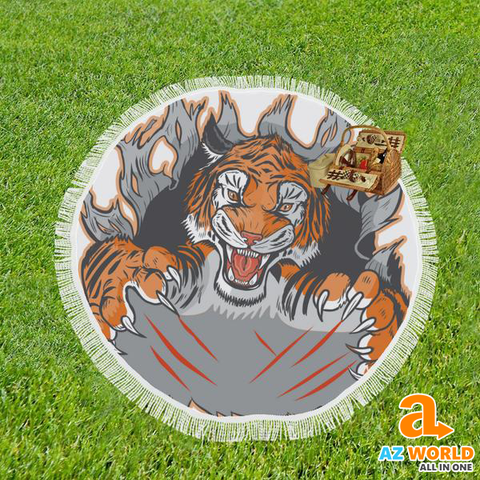 "Image of Tiger Mascot Ripping Round Beach Shawl 59""x 59"""