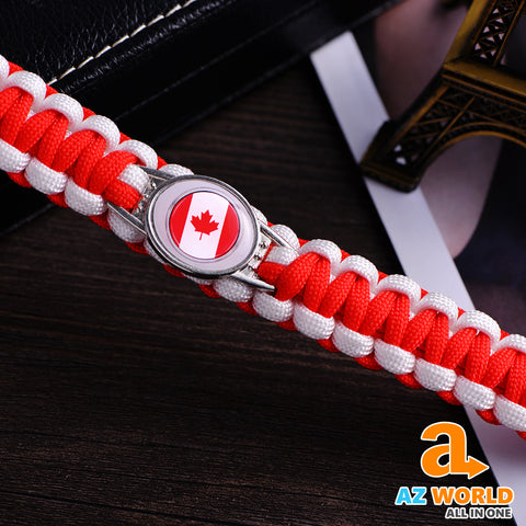 Image of Canada Flag Woven Rope Bracelets