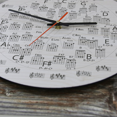 Circle of Fifths Guitar Wooden Wall Clocks