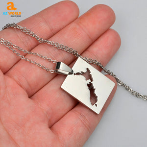 New Zealand Map Square Necklaces - K