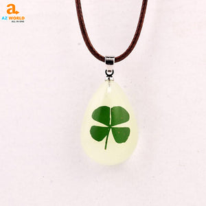 pendant necklace necklaces irish IRELAND girls gift four leaf clover clover Az World Store akito 4 leaf clover