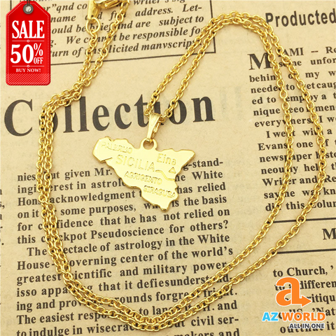 Sicily Map Necklace - TR