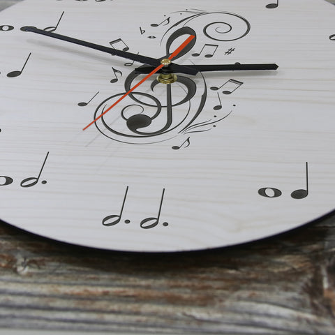 Image of Music Note Wooden Wall Clock