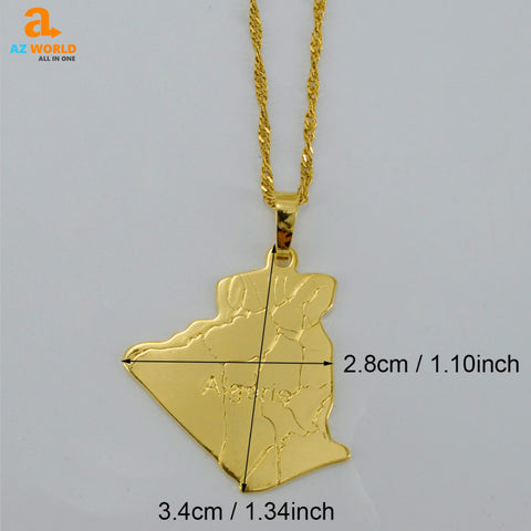 Image of Algeria Map Necklace - K
