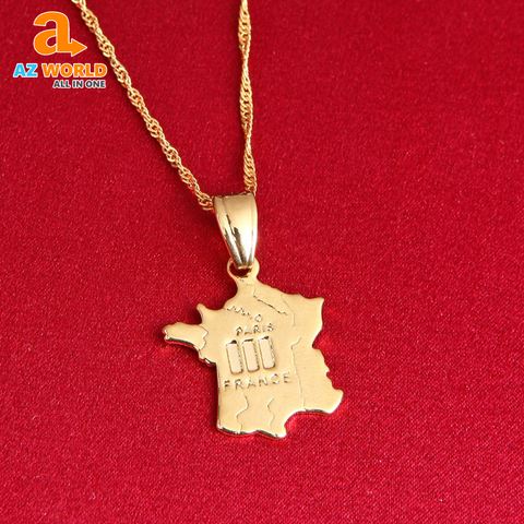 France Map Gold Plated Necklace - TU