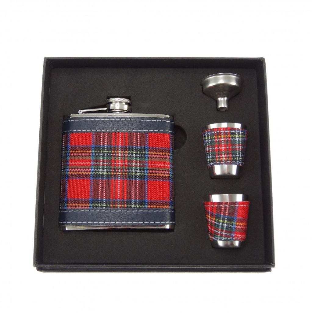 6oz Tartan Hip Flask Gift Set - Y7