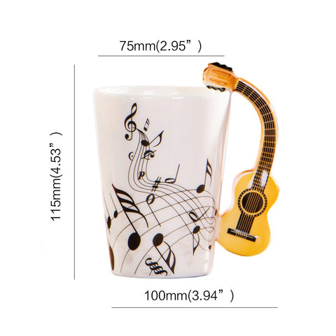 Image of Musical Ceramic Guitar Mug T4