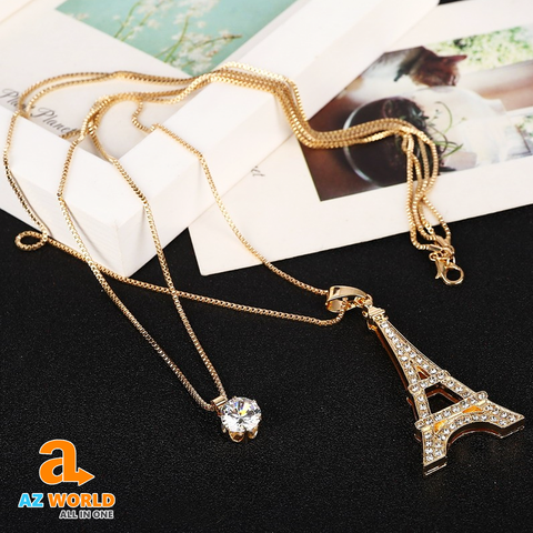 Eiffel Tower Gold Plated Crystal Necklace - TU