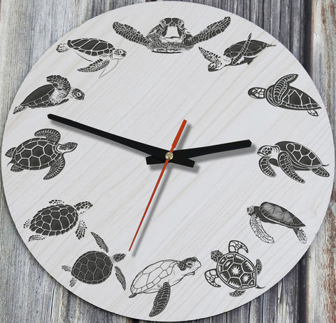Sea Turtle Wooden Wall Clocks