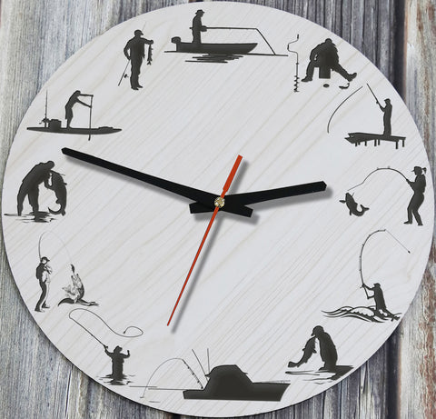 Fishing Wooden Wall Clock