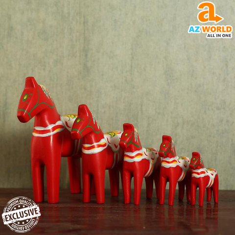 Image of 5PCS Dala Horse Wooden Statue - Exclusive Product