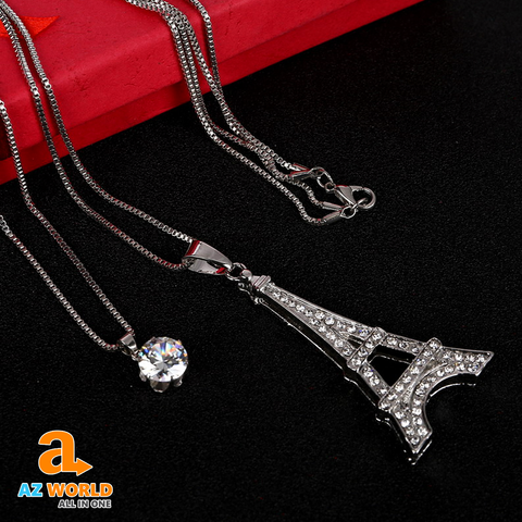 Eiffel Tower Silver Plated Crystal Necklace - TU