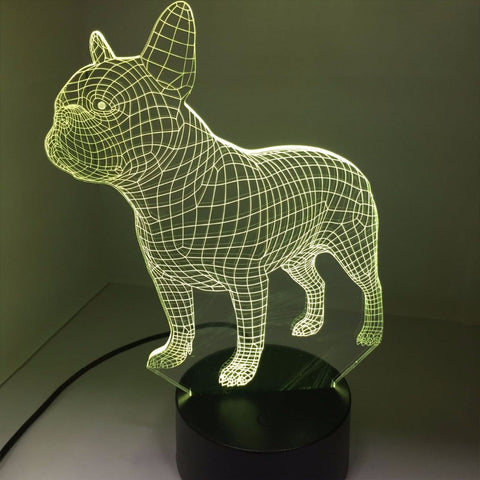 French Bulldog 3D LED Night Lamp 7 Colors USB Hologram Decor Lamp Table Desk Lights Birthday Party Gift For Children Friends