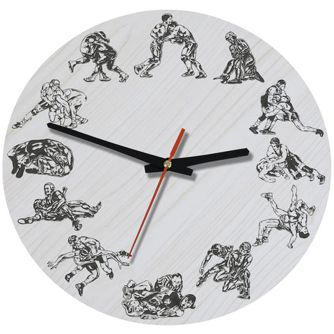 Wrestling Wooden Wall Clock