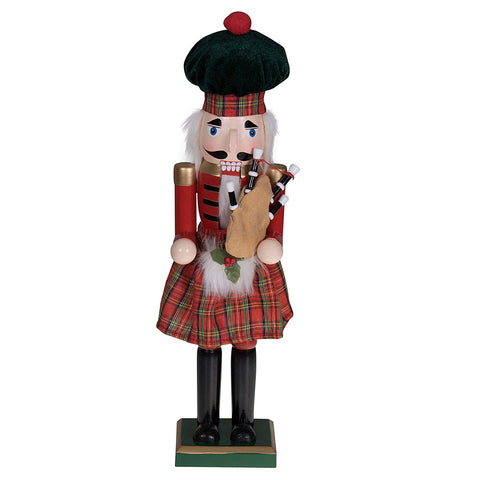 Image of Traditional Scottish Tartan Wooden Nutcracker - Y7