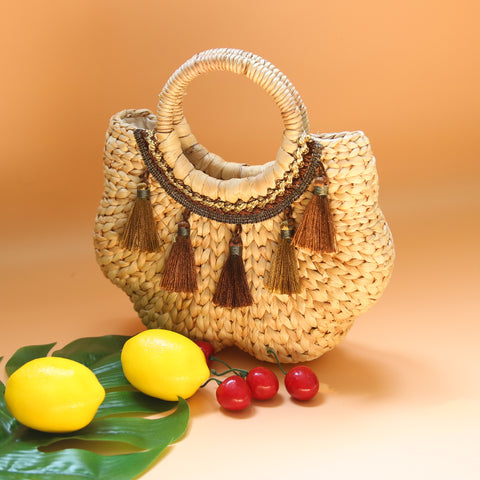 Image of AZ Exclusive Handmade Water Hyacinth Straw Stylized Handbag - LTL007