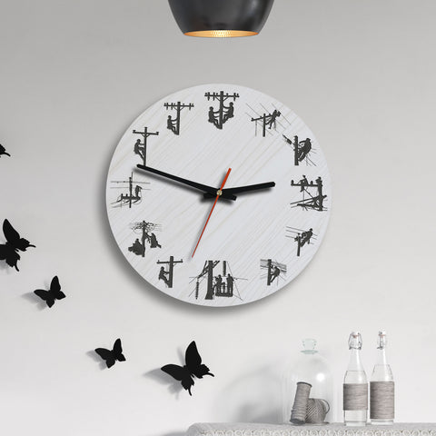 Image of Lineman Wooden Wall Clock